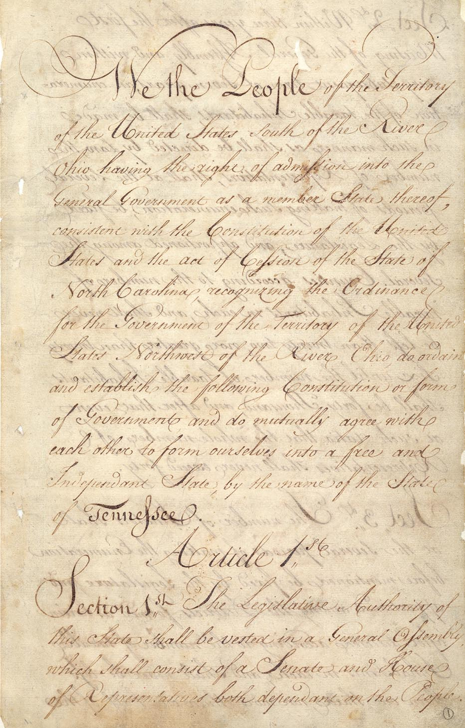 Page from Tennessee's first Constitution, adopted in 1796