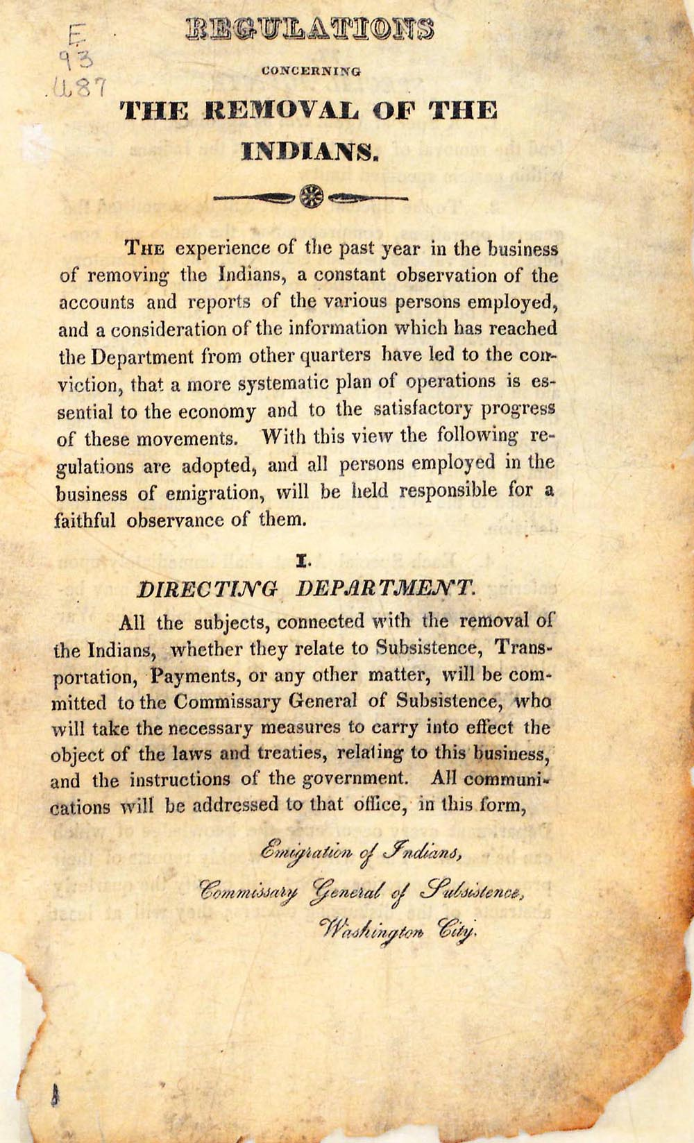 Regulations concerning the removal of the Indians, published by the United States War Department