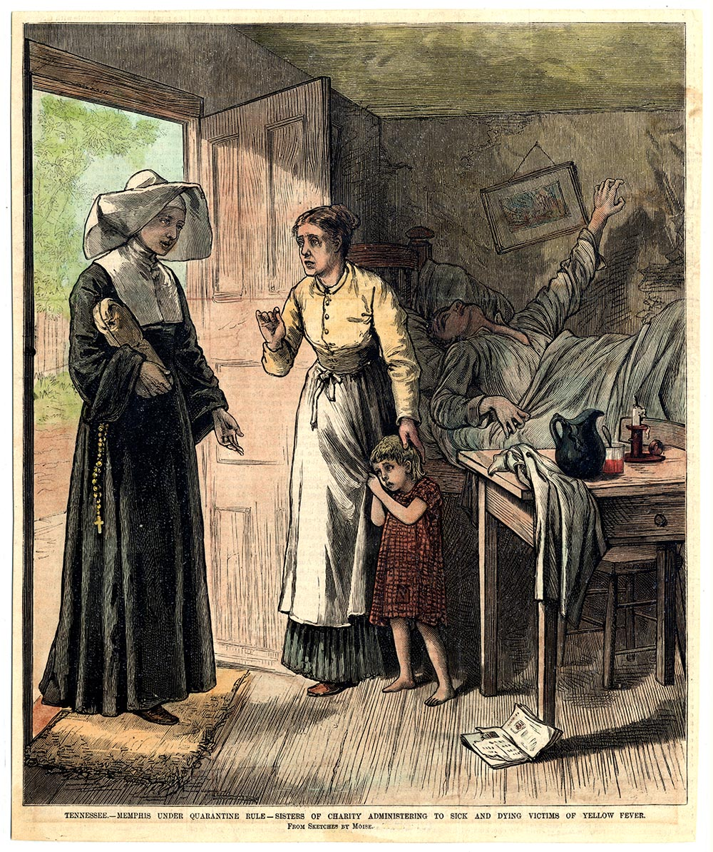 Catholic Sisters of Charity tended the sick during the yellow fever epidemic of the 1870s.