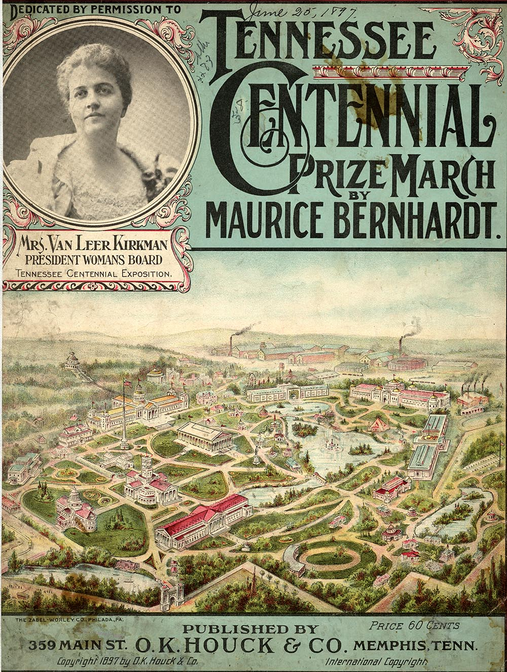 Sheet music featuring an aerial drawing of the Tennessee Centennial Exposition in 1897