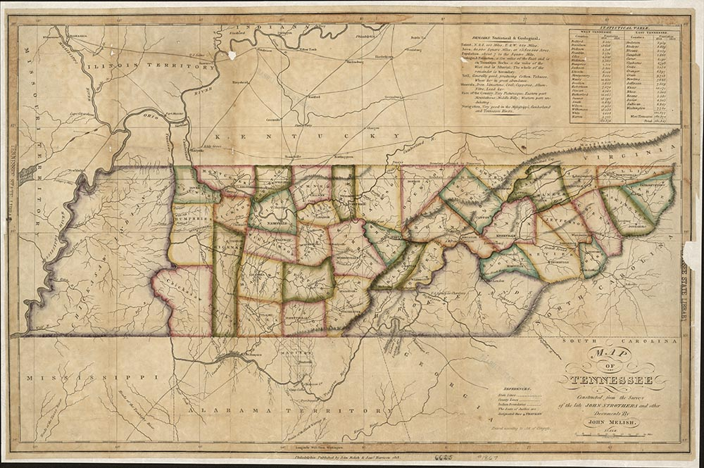 Map showing West Tennessee as Chickasaw territory and southeastern Tennessee as Cherokee territory, 1818