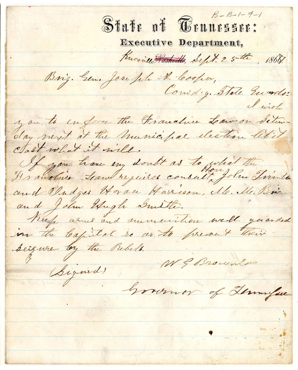 Letter from Governor William G. Brownlow ordering the state militia to enforce the franchise law