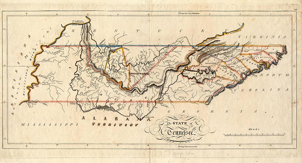 Tennessee in 1796; note the separation of East and Middle Tennessee by Indian territory.