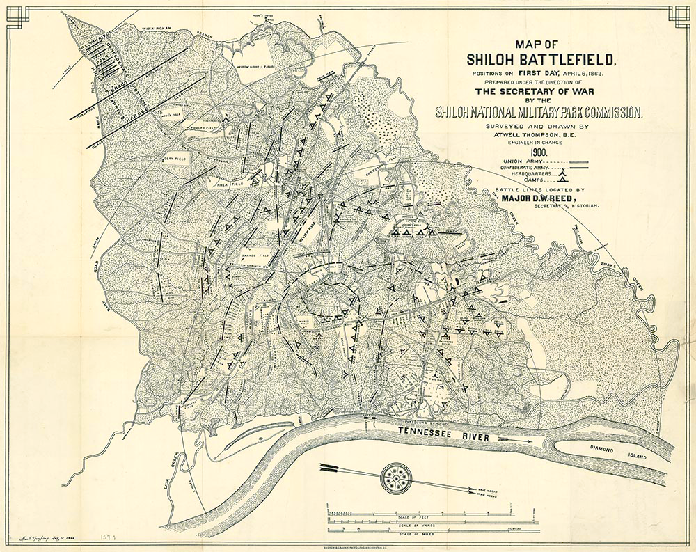 Map of the battlefield on the first day of the Battle of Shiloh