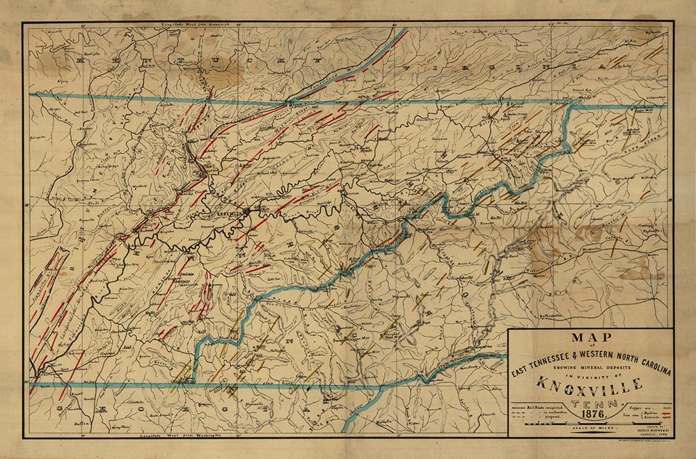 Mineral deposits map of East Tennessee and Western North Carolina (1876)