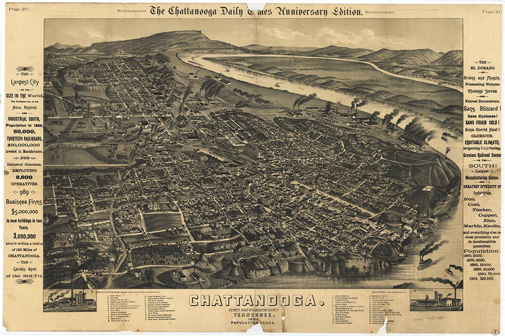 Aerial map of Chattanooga, Tennessee (1888)