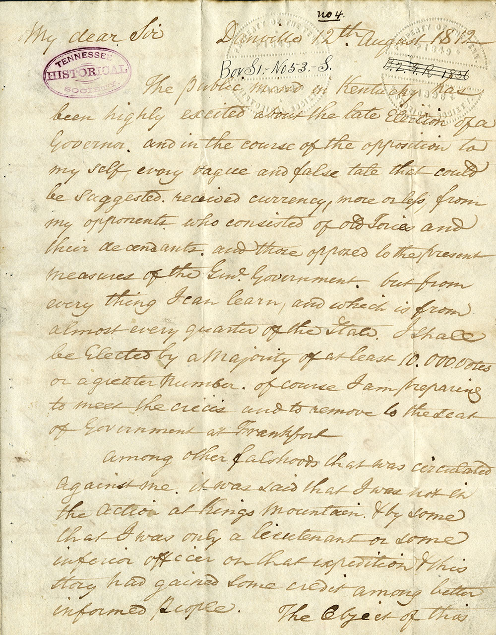 Letter from Isaac Shelby to John Sevier about Kings Mountain