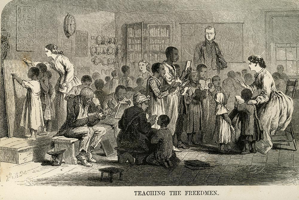 The Freedmen's Bureau considered education a key to the future and was organized to teach basic reading, writing, and math skills to freed men, women, and children.