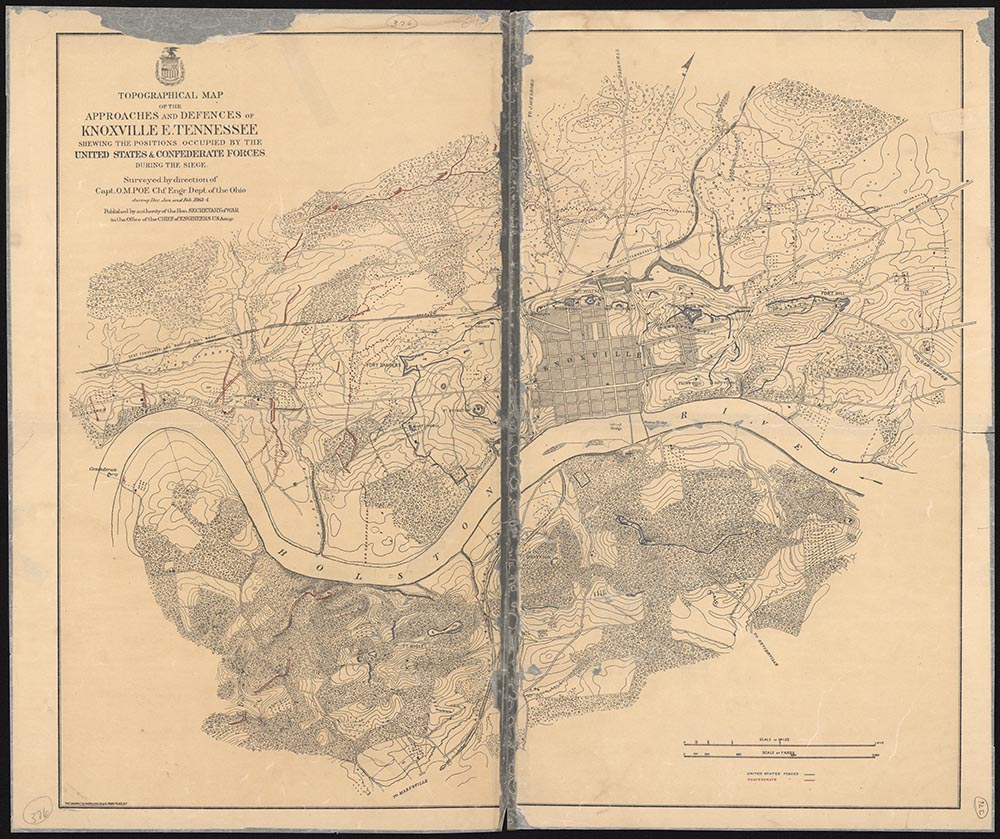 Topographical map showing the positions of the Union and Confederate forces during the 1863 Siege of Knoxville