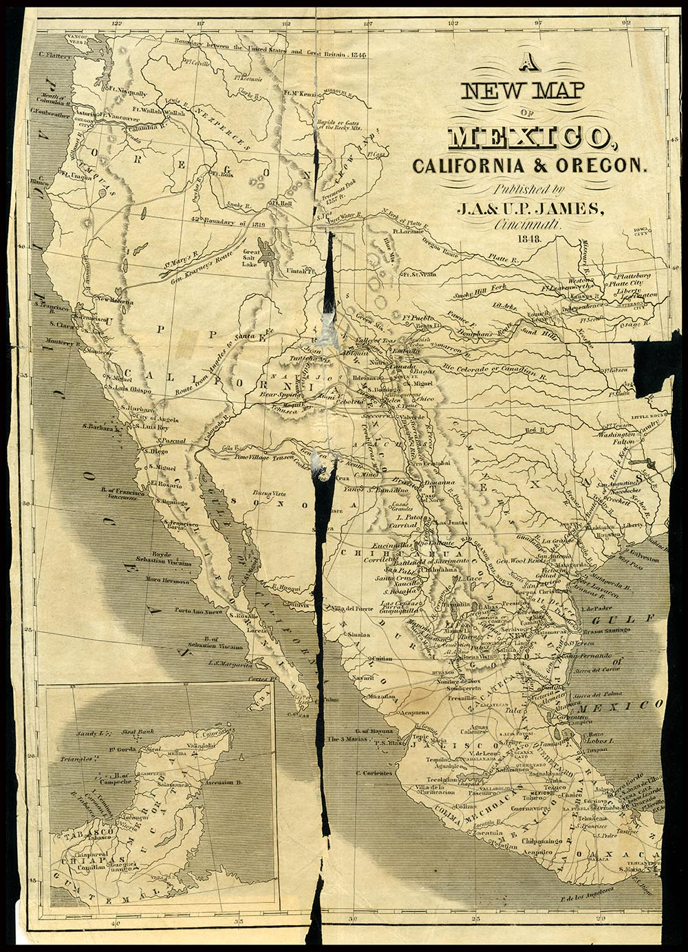 An 1848 map of Mexico, California, and Oregon, which represents much of the territory taken by the United States in the war with Mexico