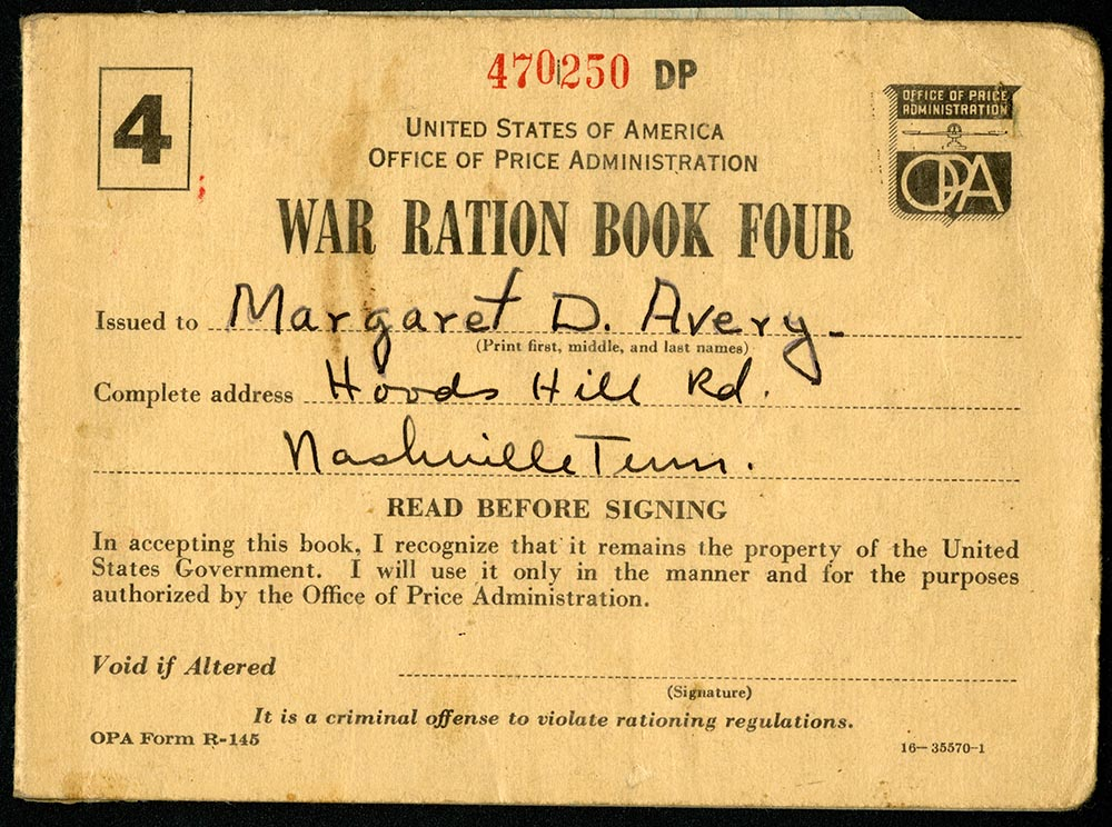 War ration book issued to Margaret D. Avery in Nashville pg1