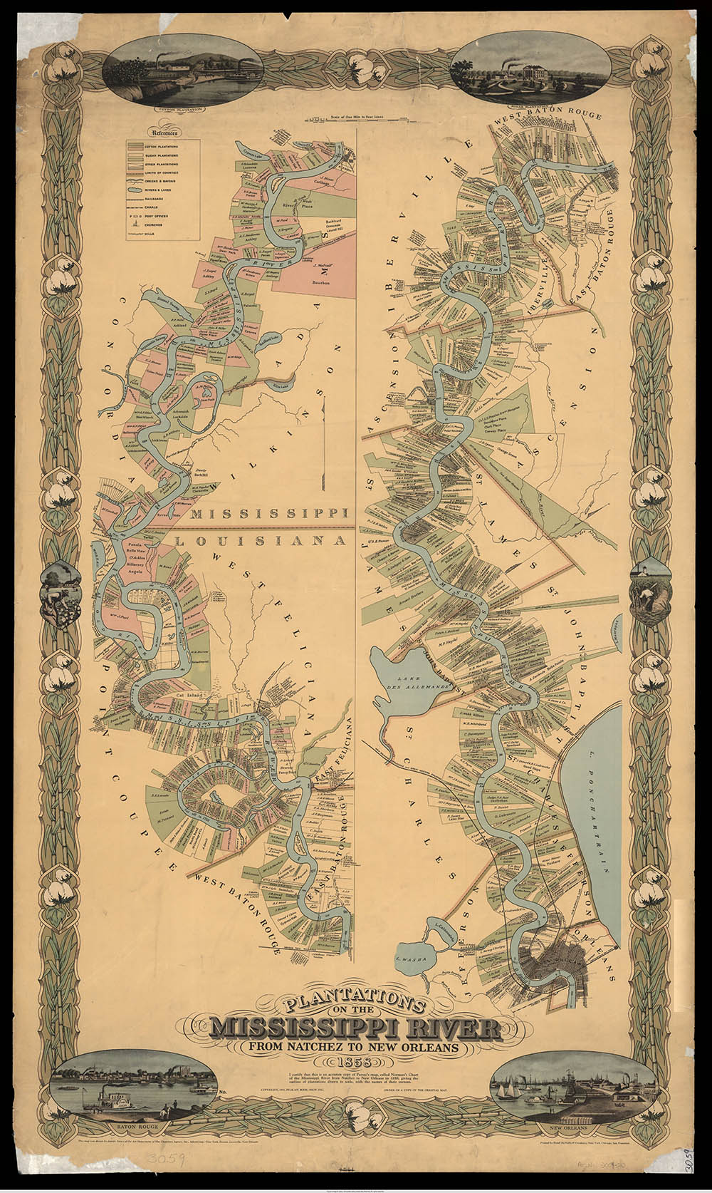 A map of the richest plantations of the Old South along the Mississippi River