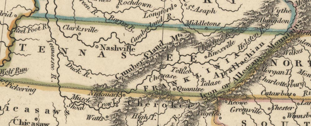"1798 map of ""Franklinia,"" also known as the State of Franklin in East Tennessee"