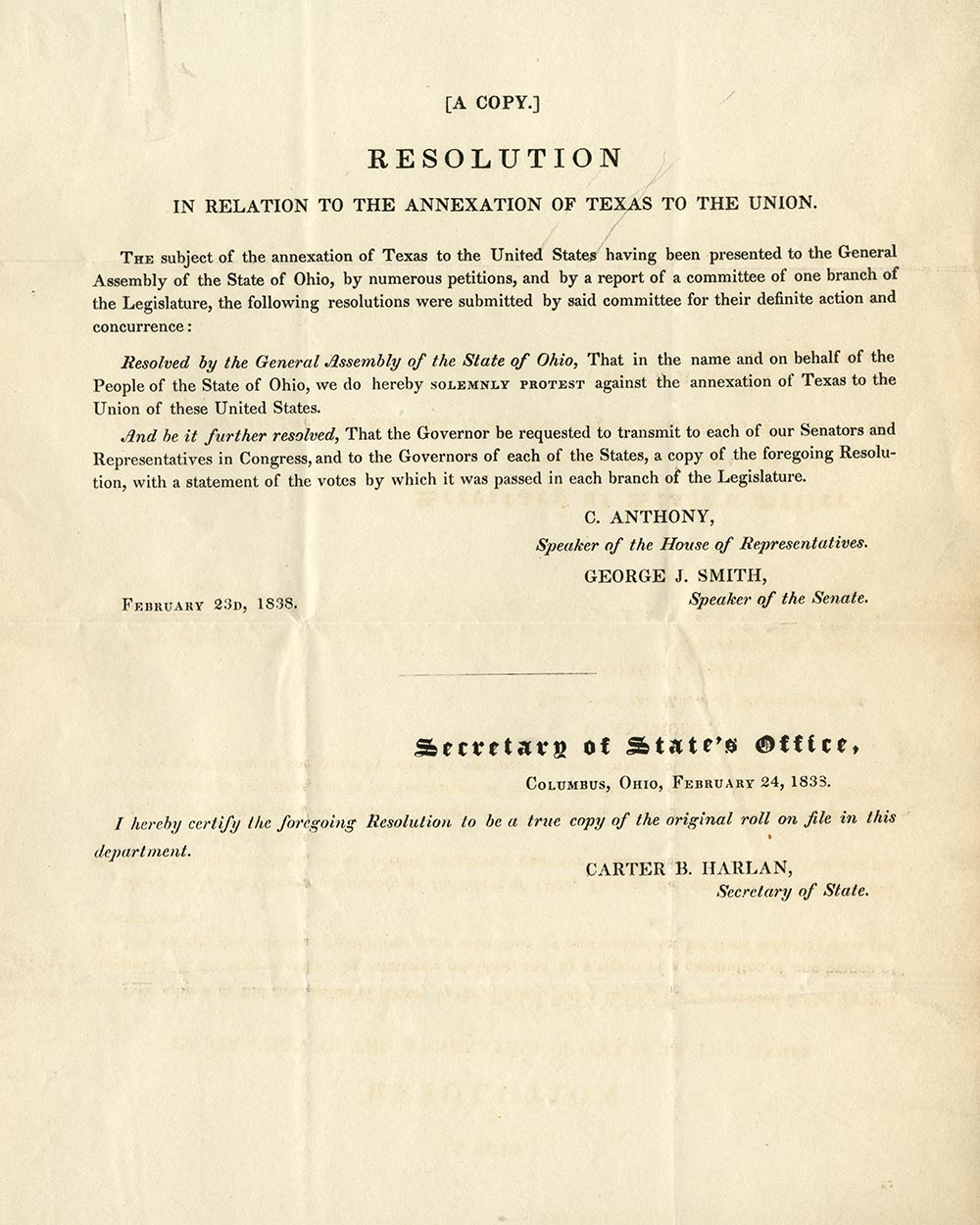 Congressional resolution on Texas annexation