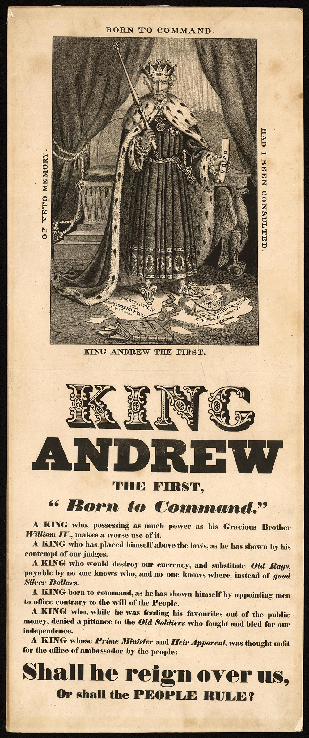 King Andrew the First, a political cartoon criticizing President Andrew Jackson