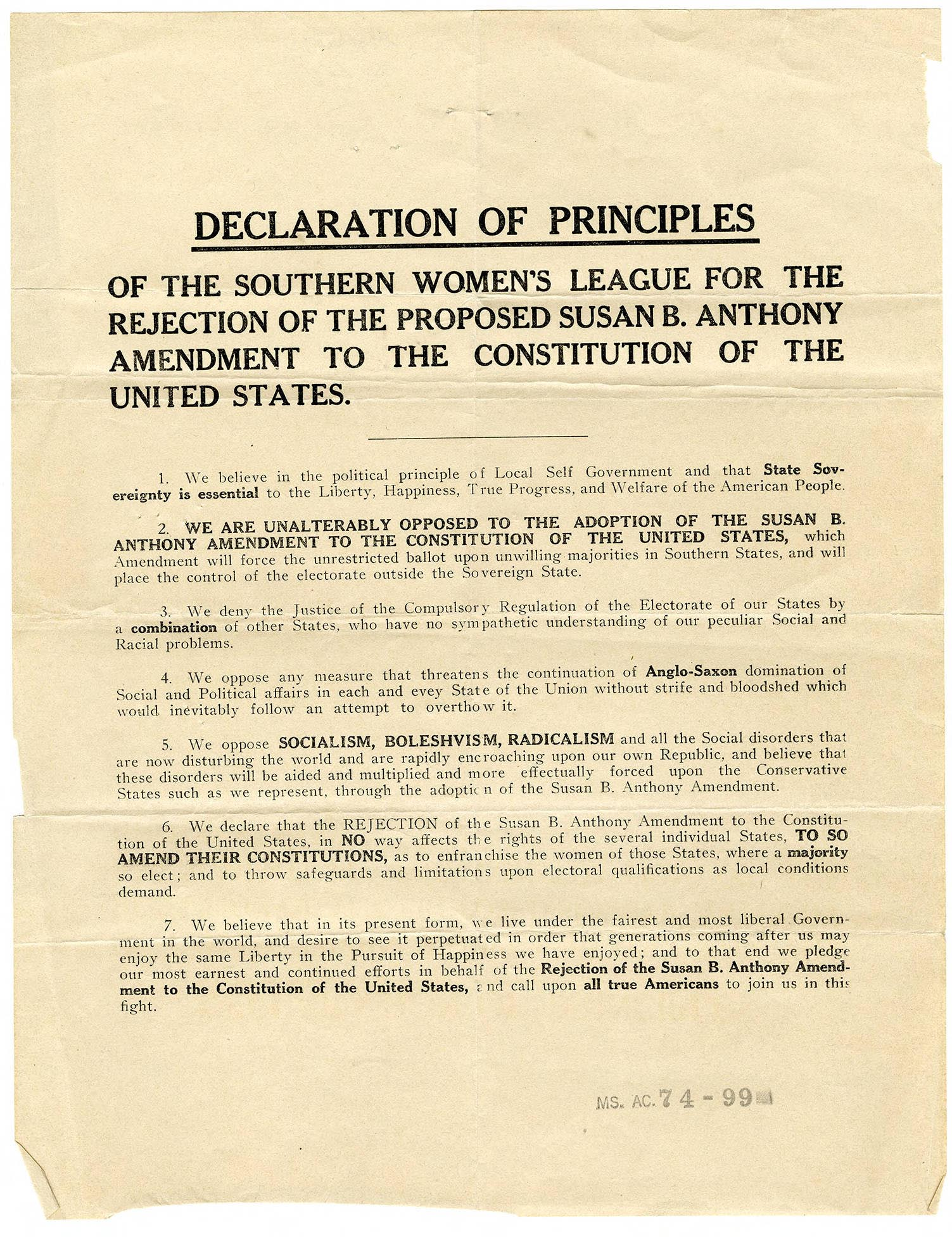Anti-suffrage document issued by Southern Women's League for the Rejection of the Susan B. Anthony Amendment