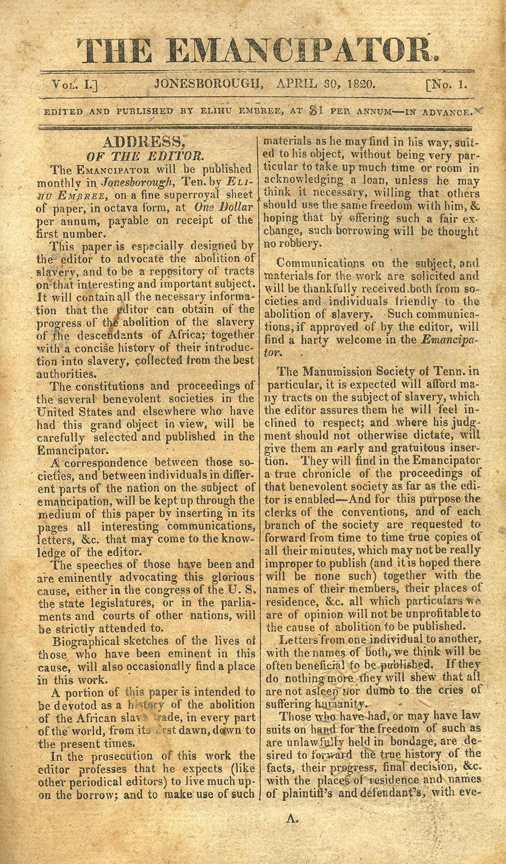 The Emancipator, one of America's first anti-slavery newspapers