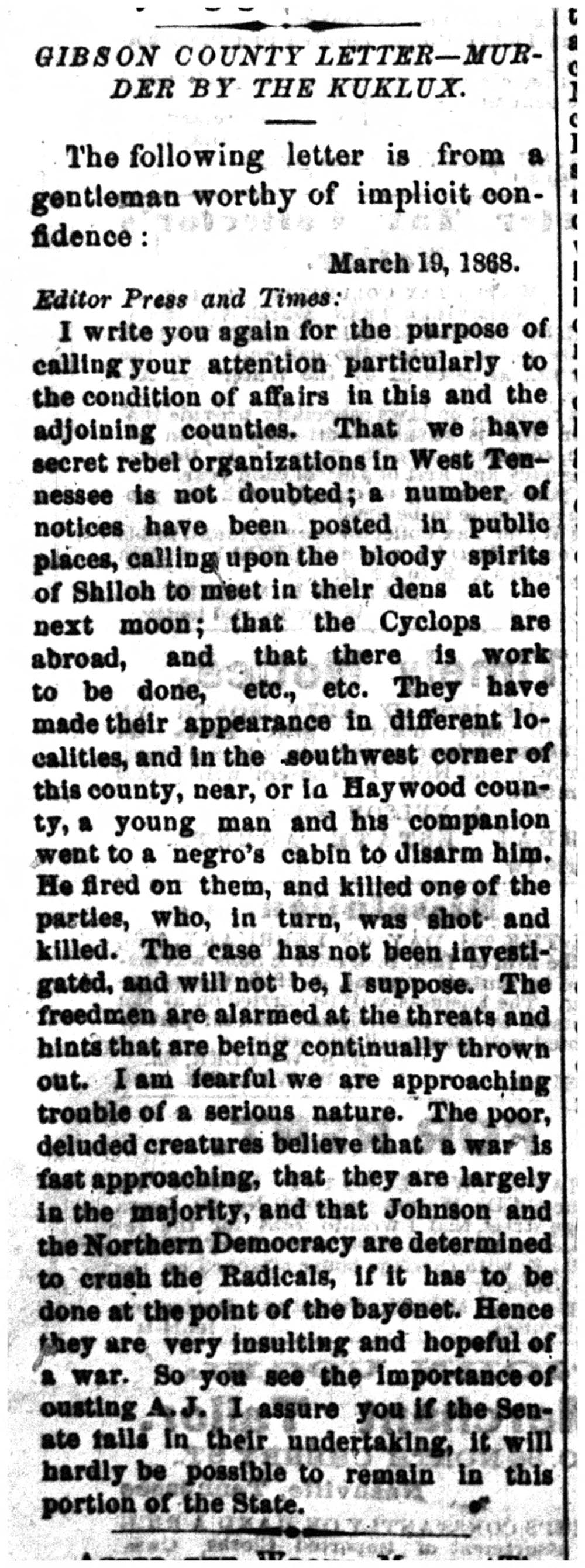 A letter to the editor reporting on a recent murder of an African American man in Gibson County, presumably committed by the Ku Klux Klan