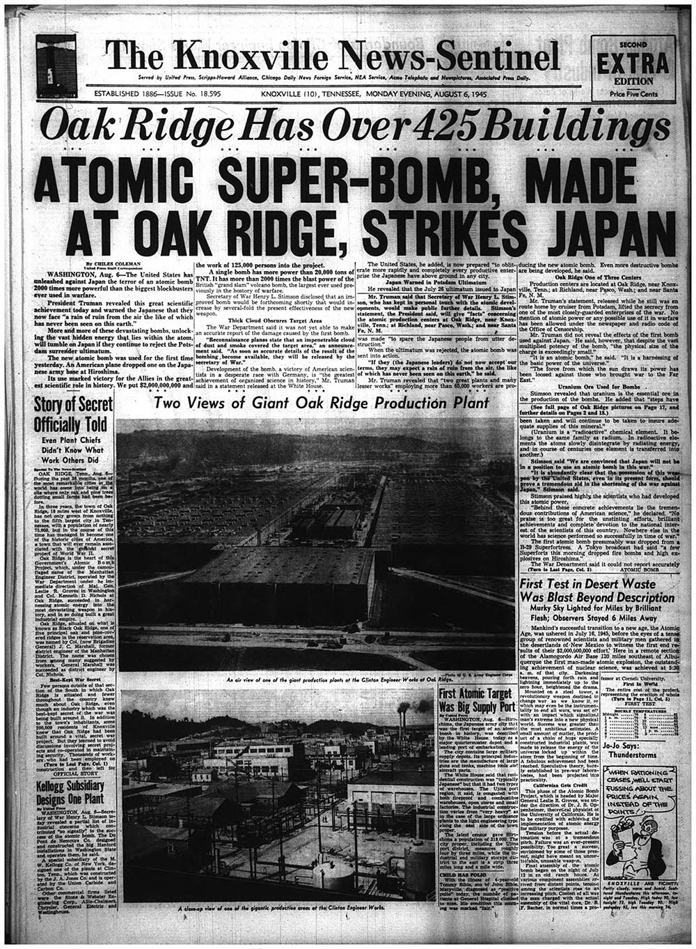 Front page of The Knoxville News-Sentinel on the day of the first nuclear bomb strike on Hiroshima, 1945