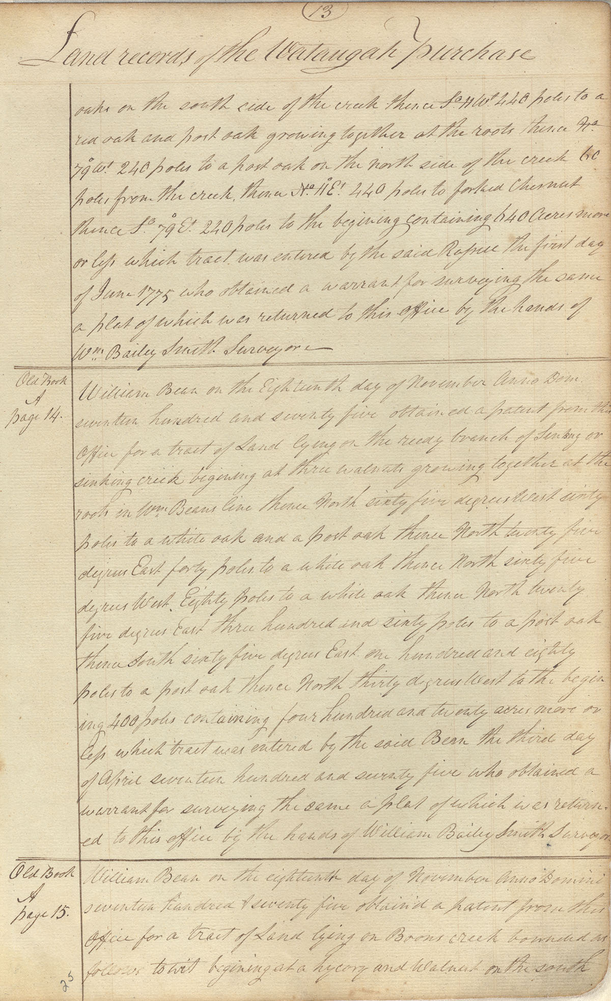 A page from the Watauga Purchase, the first transfer of land in Tennessee from natives to settlers such as William Bean