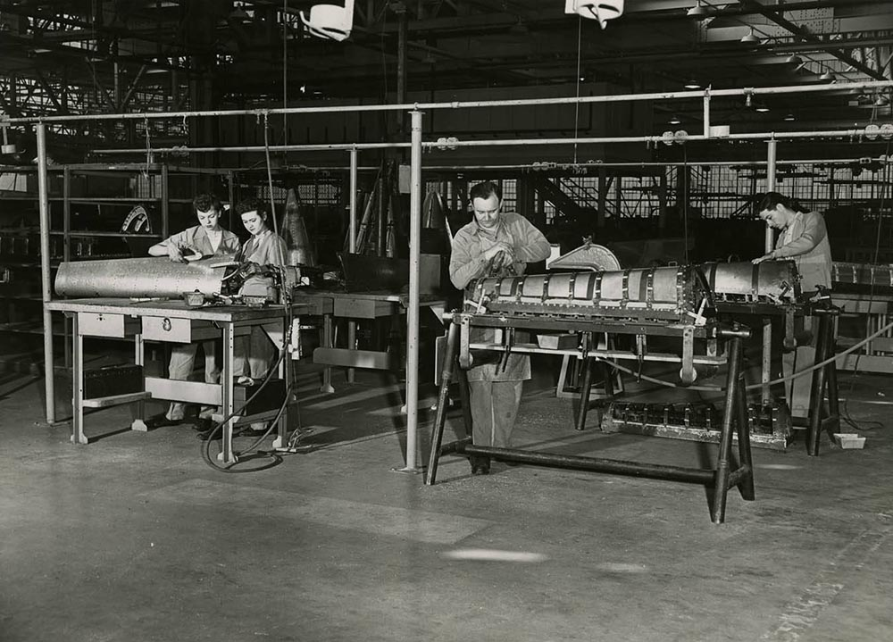Women workers at the Vultee Aircraft Corporation during World War II