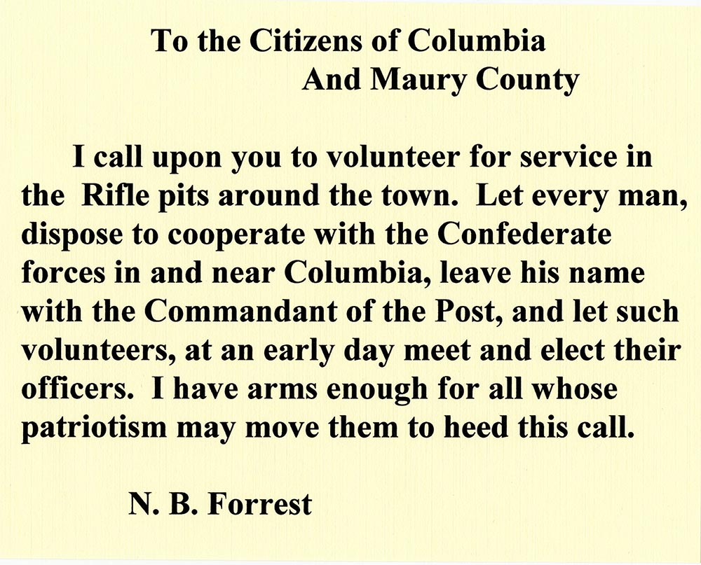 Recruitment flyer from Nathan Bedford Forrest to the citizens of Columbia and Maury County