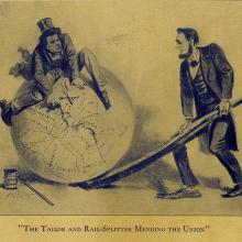 Political cartoon depicting Andrew Johnson (left) and Abraham Lincoln (right)